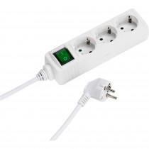 Vivanco EBLS3W Regleta Enchufes, 3Tomas, Interruptor Encendido/Apagado, Dispositivo Seguridad Infantil, 1,4m, Blanca