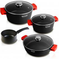 WECOOK Ecostone Batería de Cocina inducción 4 Piezas de Aluminio Fundido 3 Capas Antiadherente sin PFOA