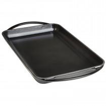 Wecook Iron Parrilla Plancha Lisa Bandeja Hierro Fundido Esmaltada libre PFOA, inducción, rectangular 22x40 cm, Apta todas fuentes de calor, horno y barbacoas