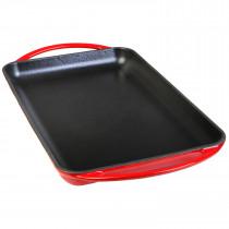 Wecook Iron Parrilla Plancha Lisa Bandeja Hierro Fundido Esmaltada roja libre PFOA, inducción, rectangular 22x40 cm