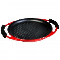 Wecook Iron Parrilla Rayas Bandeja Hierro Fundido Esmaltada roja libre PFOA, inducción, ovalada 25,5 cm