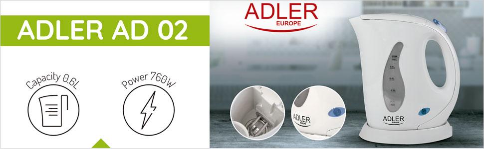Adler AD 02 - Hervidor de Agua eléctrico pequeño 0,6 litros libre de BPA