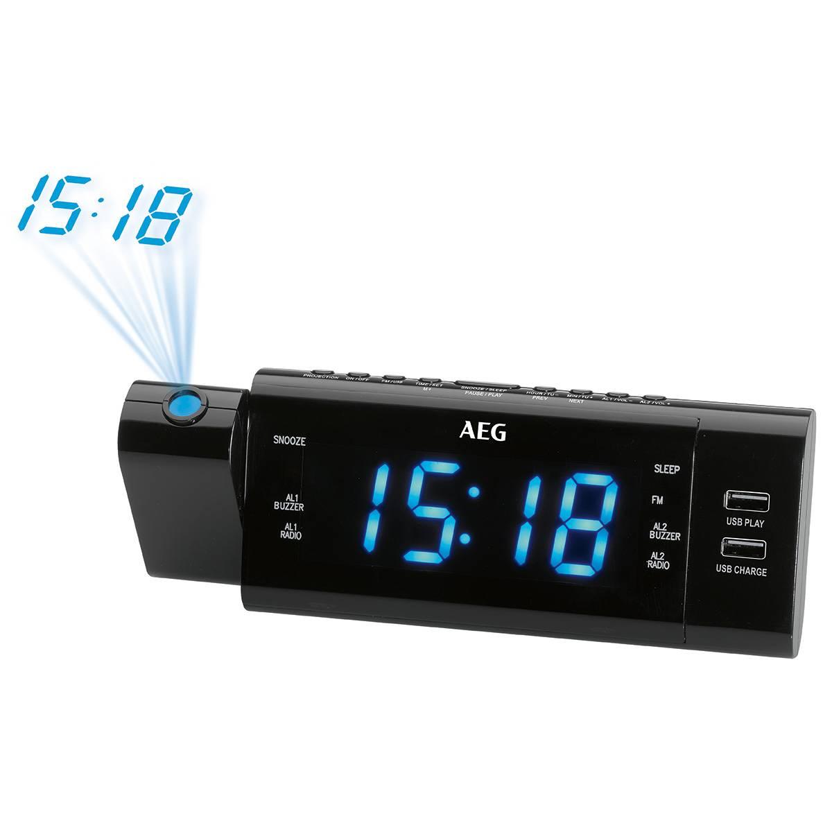 016341a1efae AEG MRC 4159 - Radio reloj despertador proyector digital 2xUSB gran pantalla  2 alarmas