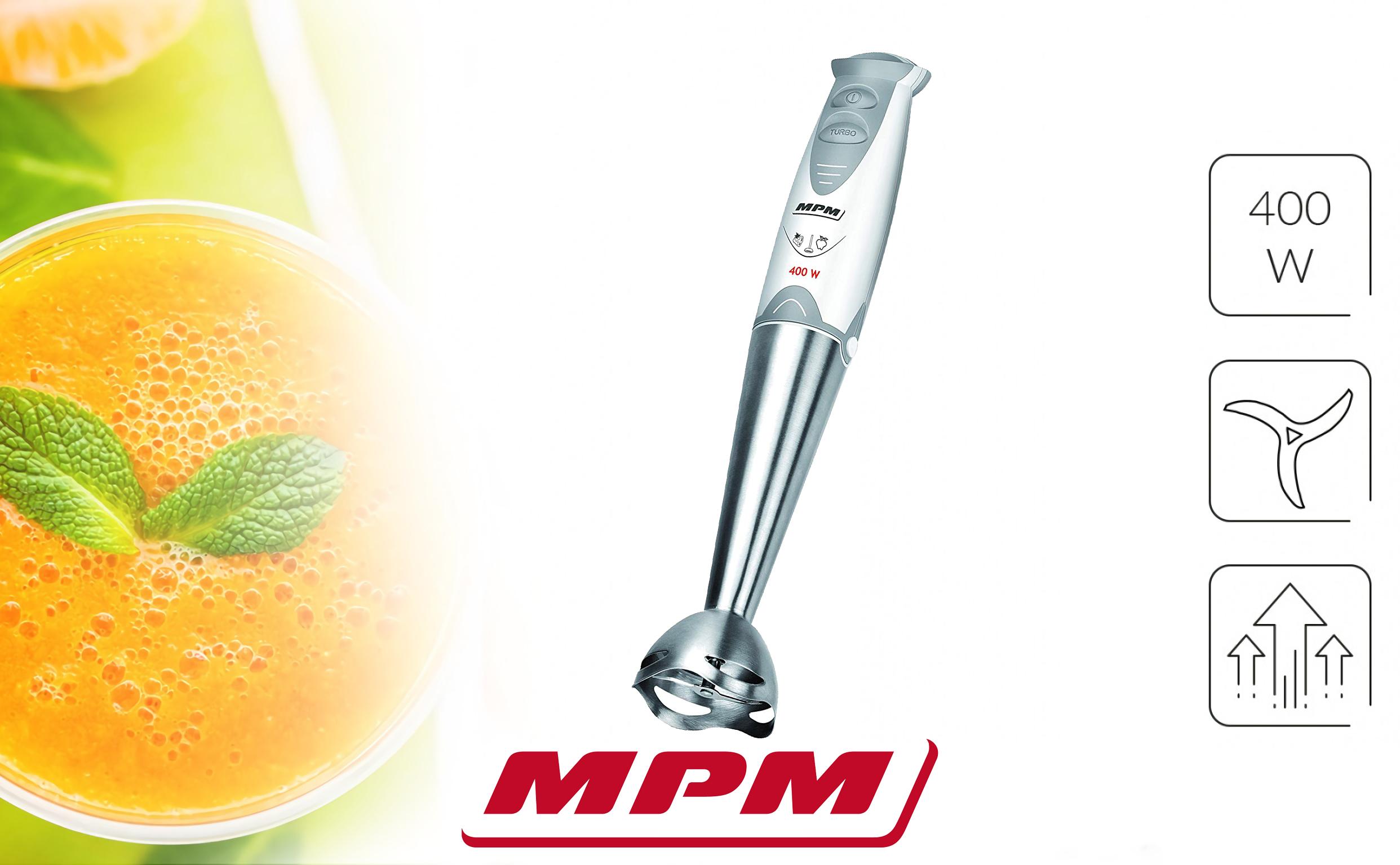MPM MBL-03 Set Batidora de Mano Picadora y Varillas, con Accesorios, Acero Inoxidable, Función Turbo 400W, Libre de BPA