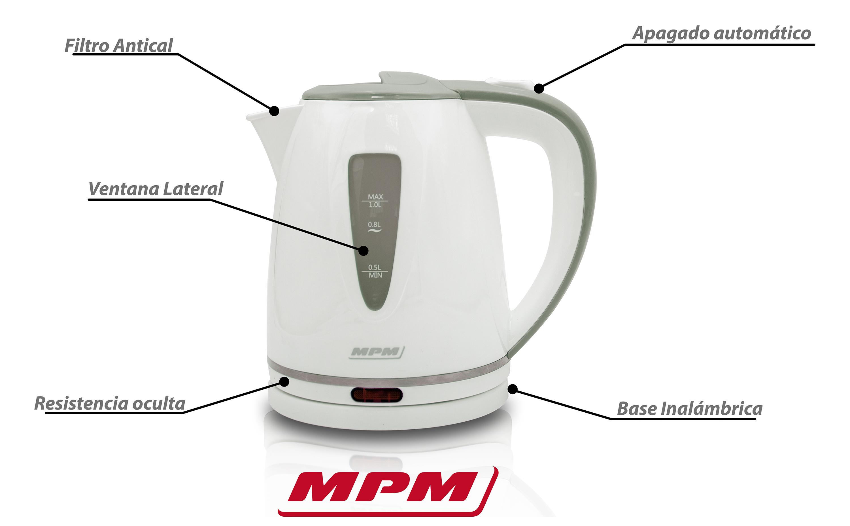 MPM MCZ-64 Hervidor de agua eléctrico 1 litro, recipiente sin BPA, resistencia oculta, 1200 W con apagado automático al alcanzar la ebullición, inalámbrico 360º sin cable