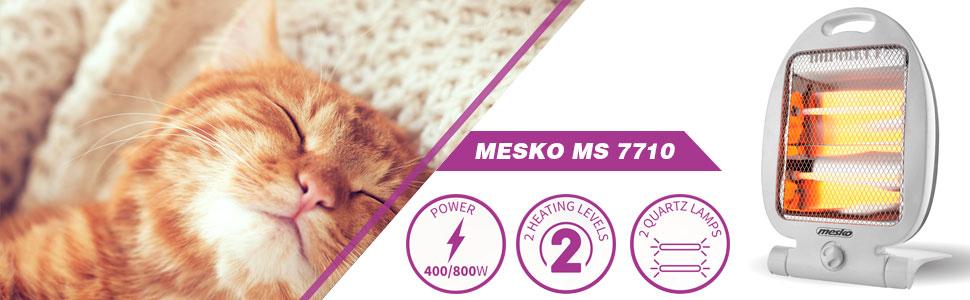 Mesko MS7710 Estufa eléctrica de cuarzo portátil, radiador halogeno