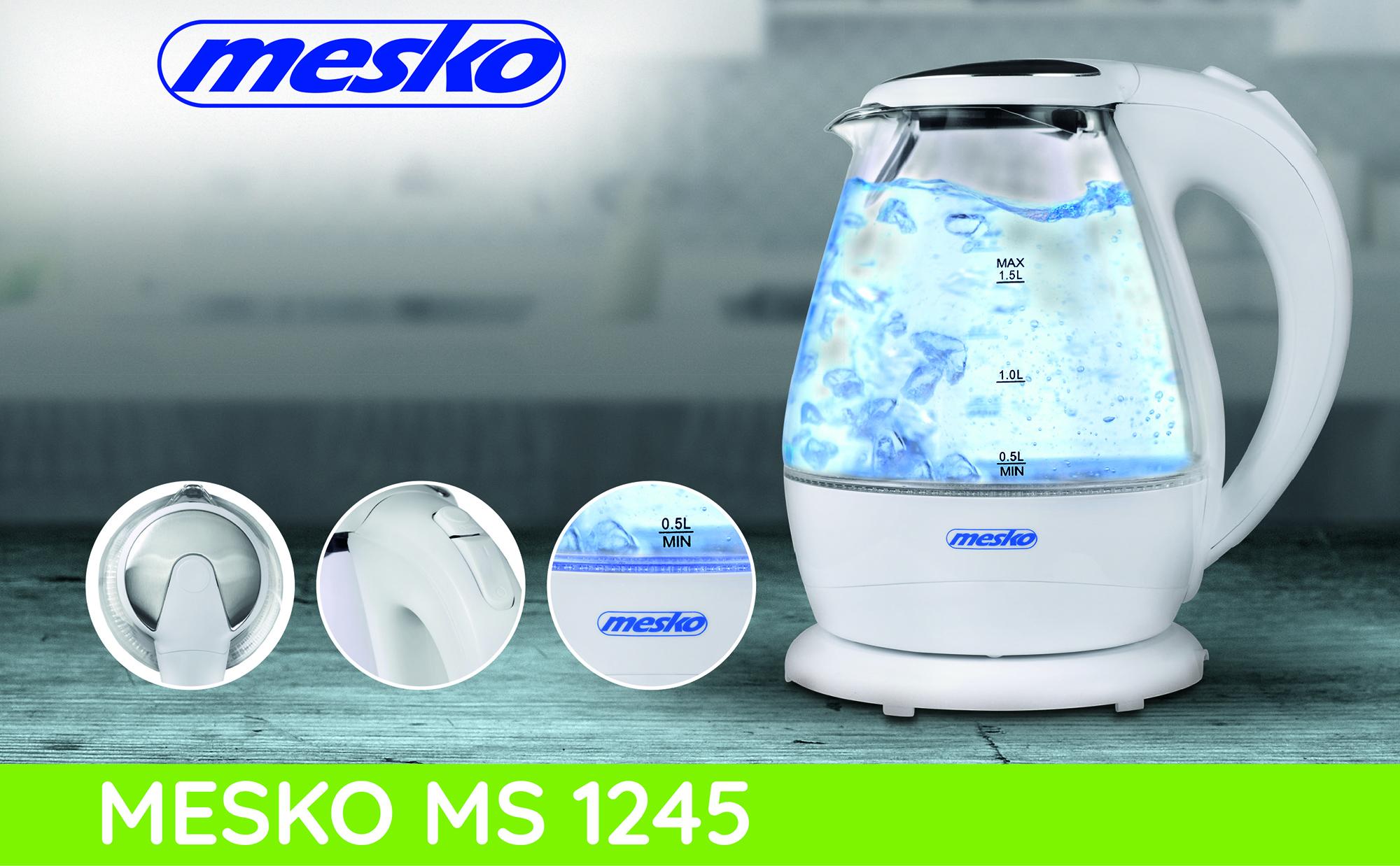 MESKO MS-1245 Hervidor de agua eléctrico cristal 1,5 litros, Resistencia oculta, 2200 W con apagado automático, inalámbrico 360º sin cable