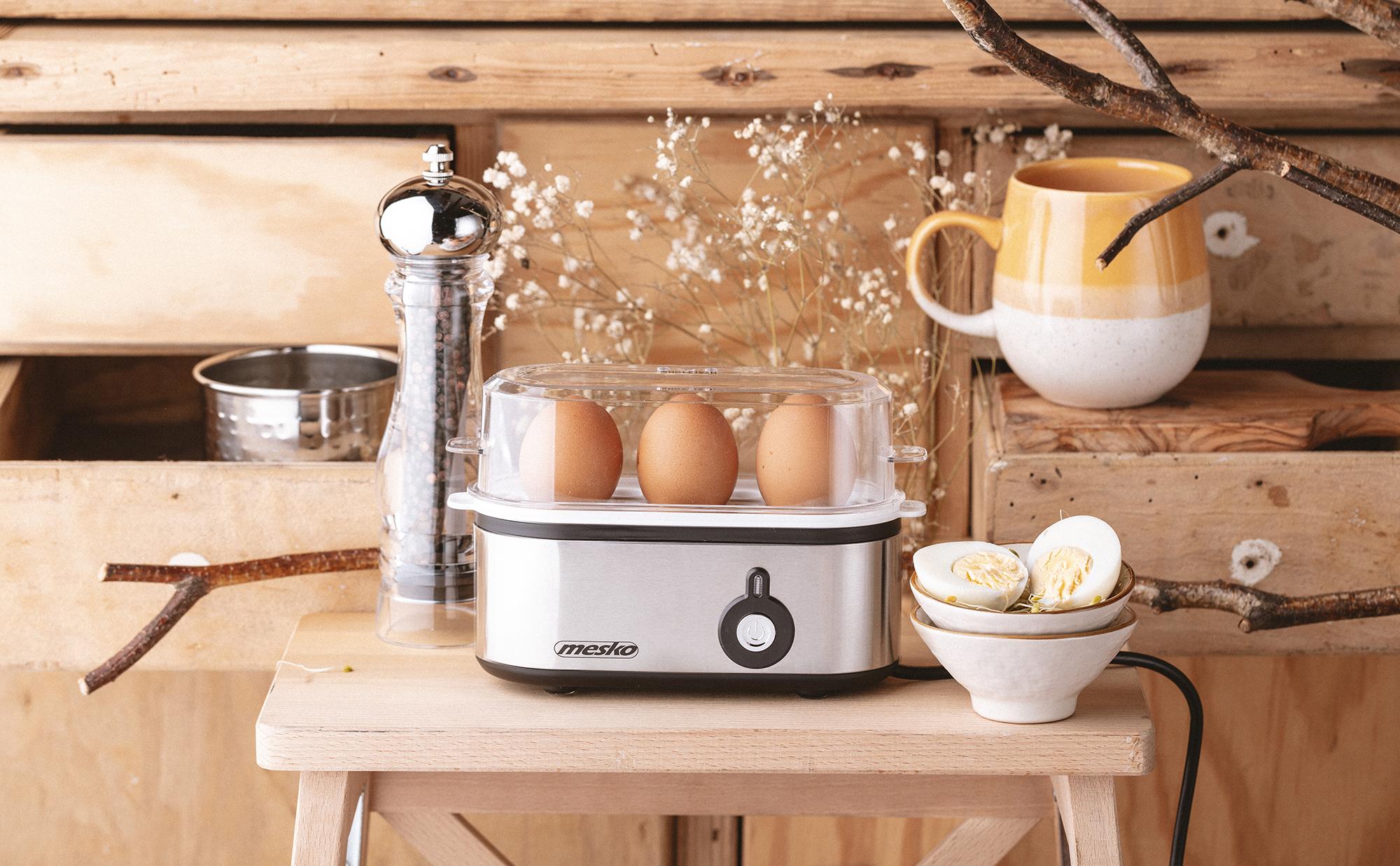 MESKO MS-4485 Cuece Huevos Eléctrico para 3 Huevos, Acero Inoxidable, Protección por Sobre Calentamiento, 350W, Libre de BPA