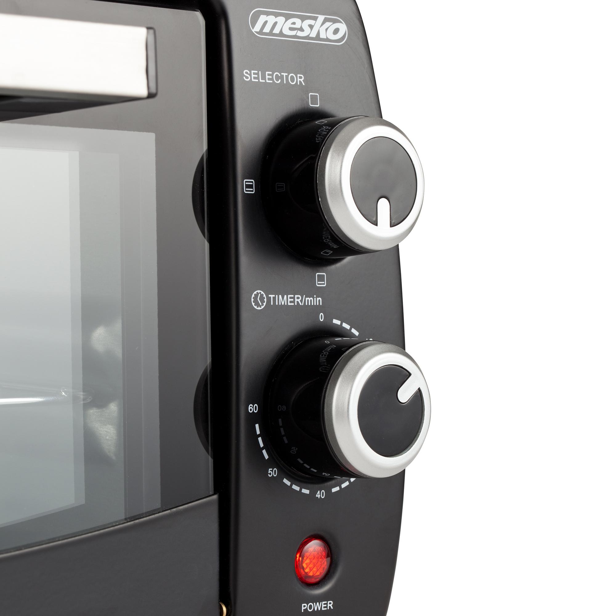 Mesko MS-6004 Horno Eléctrico de Sobremesa Cuarzo de 12 litros, Acero Inoxidable, Bandeja de migas, Temporizador, 1000W