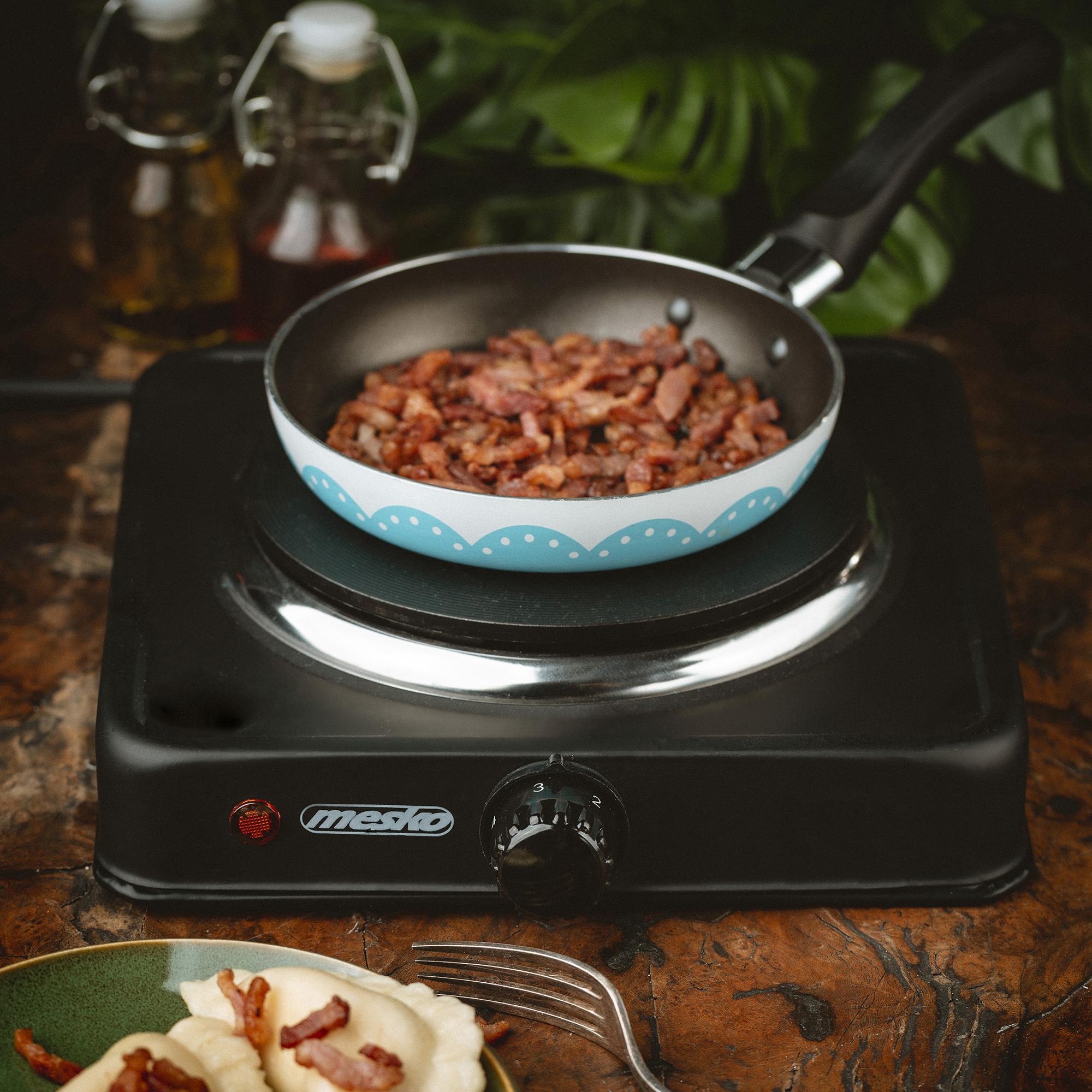 MESKO MS-6508 Hornillo Eléctrico, Regulador de Temperatura, Compacto, Viaje, Camping 154 mm, 1000W, Negro