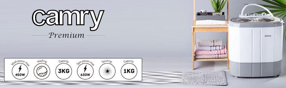 Camry CR8052 - Mini Lavadora Centrifugadora Portátil, 3Kg lavado ropa