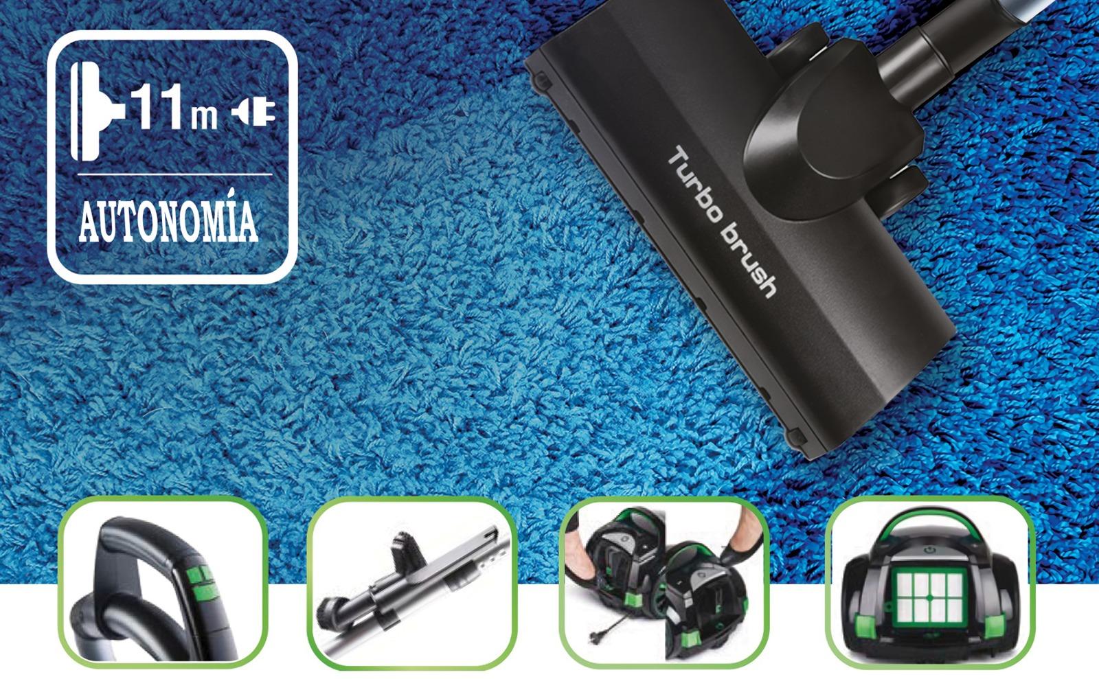 MPM MOD-28 Aspiradora de Trineo con Bolsa 4,5 l, Silenciosa, Varios Accesorios, Panel de Control LED, Cable 8 m, 10 Bolsas, Filtrado en 4 Etapas, HEPA 13, 750 W