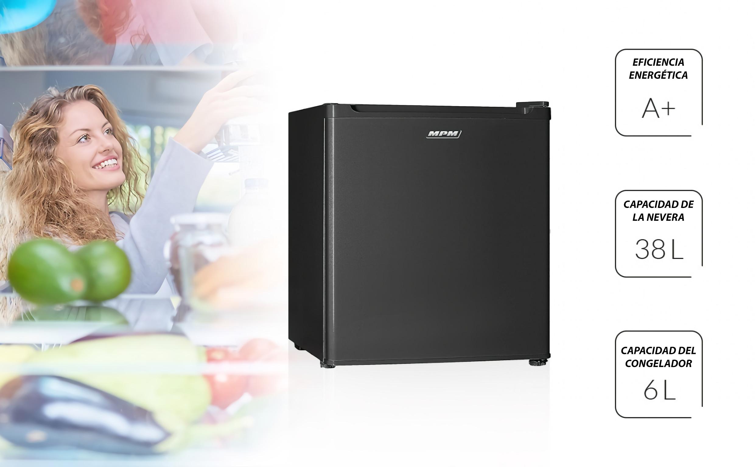 MPM 46-CJ02-A Mini Frigorífico con Congelador 5 L, 46 Litros, Silencioso, Regulador de Potencia, Reversible, Eficiencia A+, 85W