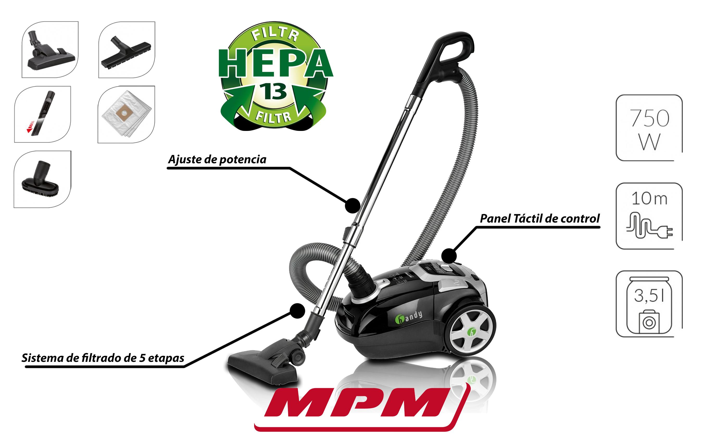 MPM MOD-23 Aspirador con Bolsa de Trineo, Filtro HEPA 13 Cepillo para pelo de mascota, parquet, tapicerías, Boquilla para Ranuras, 3.5 litros de depósito, 750W