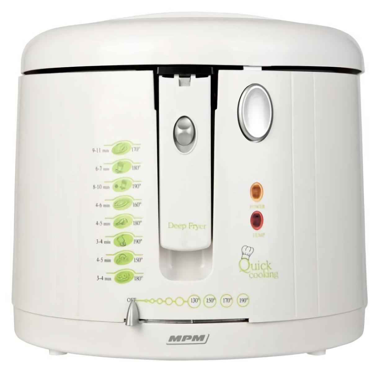 MPM DF-802 Freidora eléctrica compacta 1,9 litros cubeta desmontable lavable antiadherente regulador hasta 190°C, libre BPA, 1600W