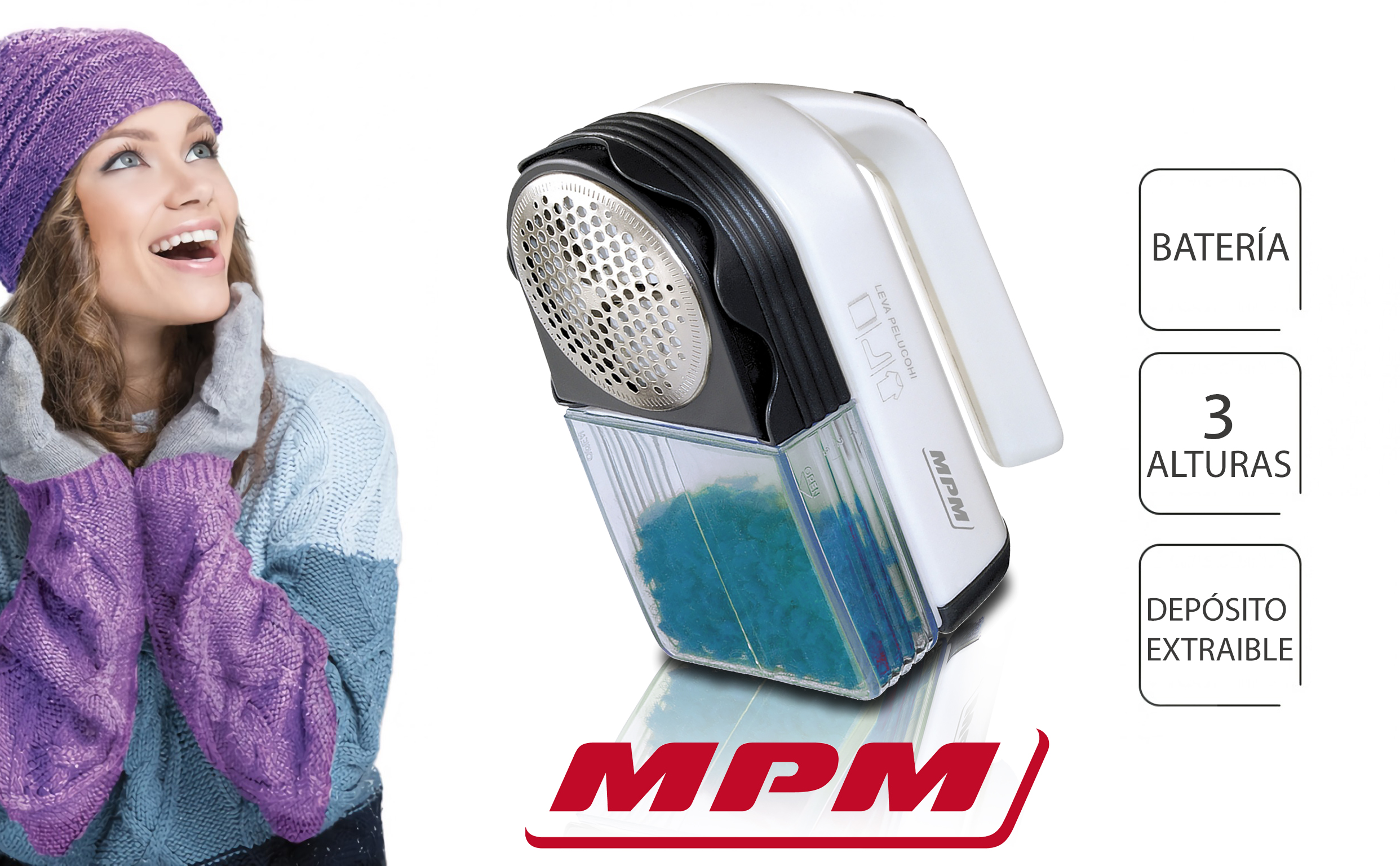 MPM LR-027-84 Quitapelusas Eléctrico para Ropa, 3 Alturas, Lana, Abrigos, Jerseys, Depósito extraible, Pilas, 3W