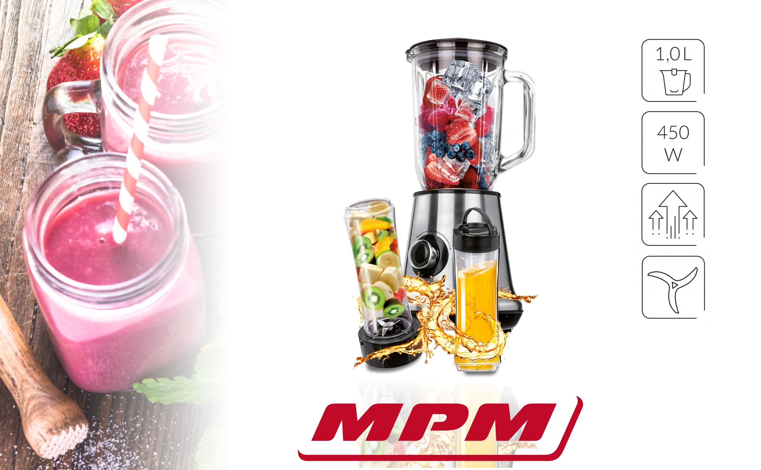 MPM MBL-15M Batidora Americana de Vaso 1L + 2 vasos Smothie To Go 600 ml, Pica Hielo, Función Pulso 450W