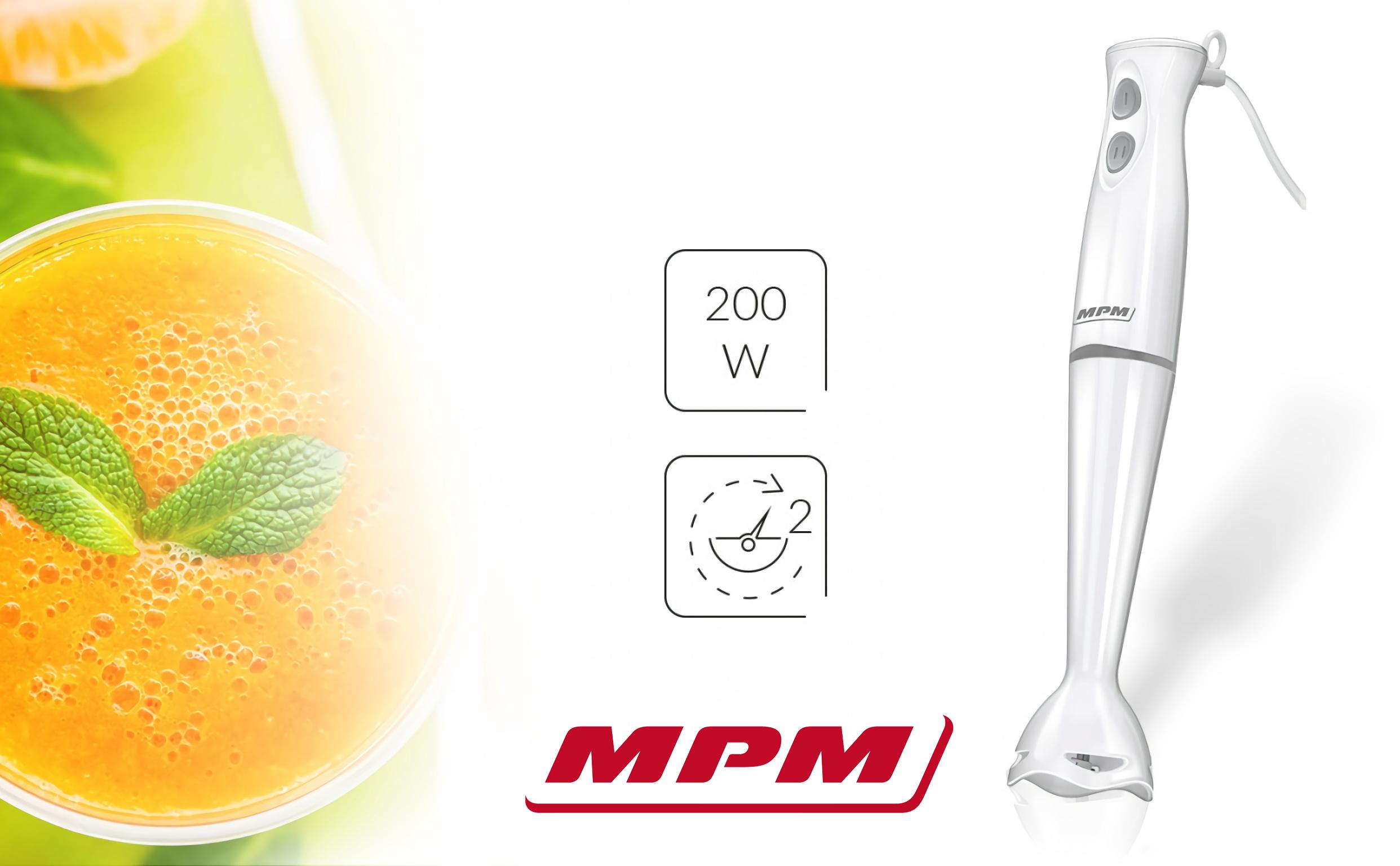 MPM MBL-18 Batidora de Mano con Cuchillas de Acero Inoxidable, 2 Velocidades 200W, Blanca