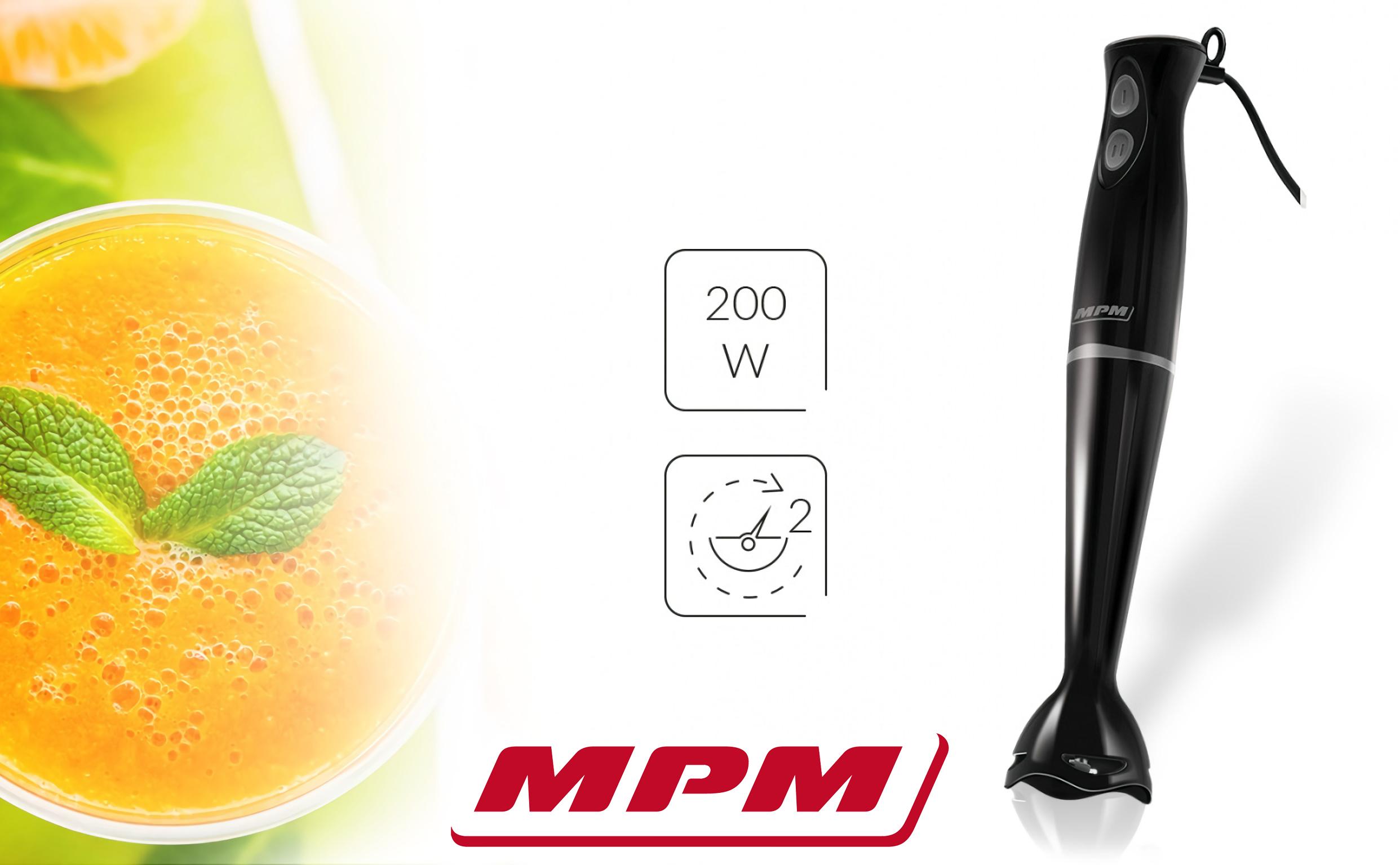 MPM MBL-18C Batidora de Mano con Cuchillas de Acero Inoxidable, 2 Velocidades 200W, negra