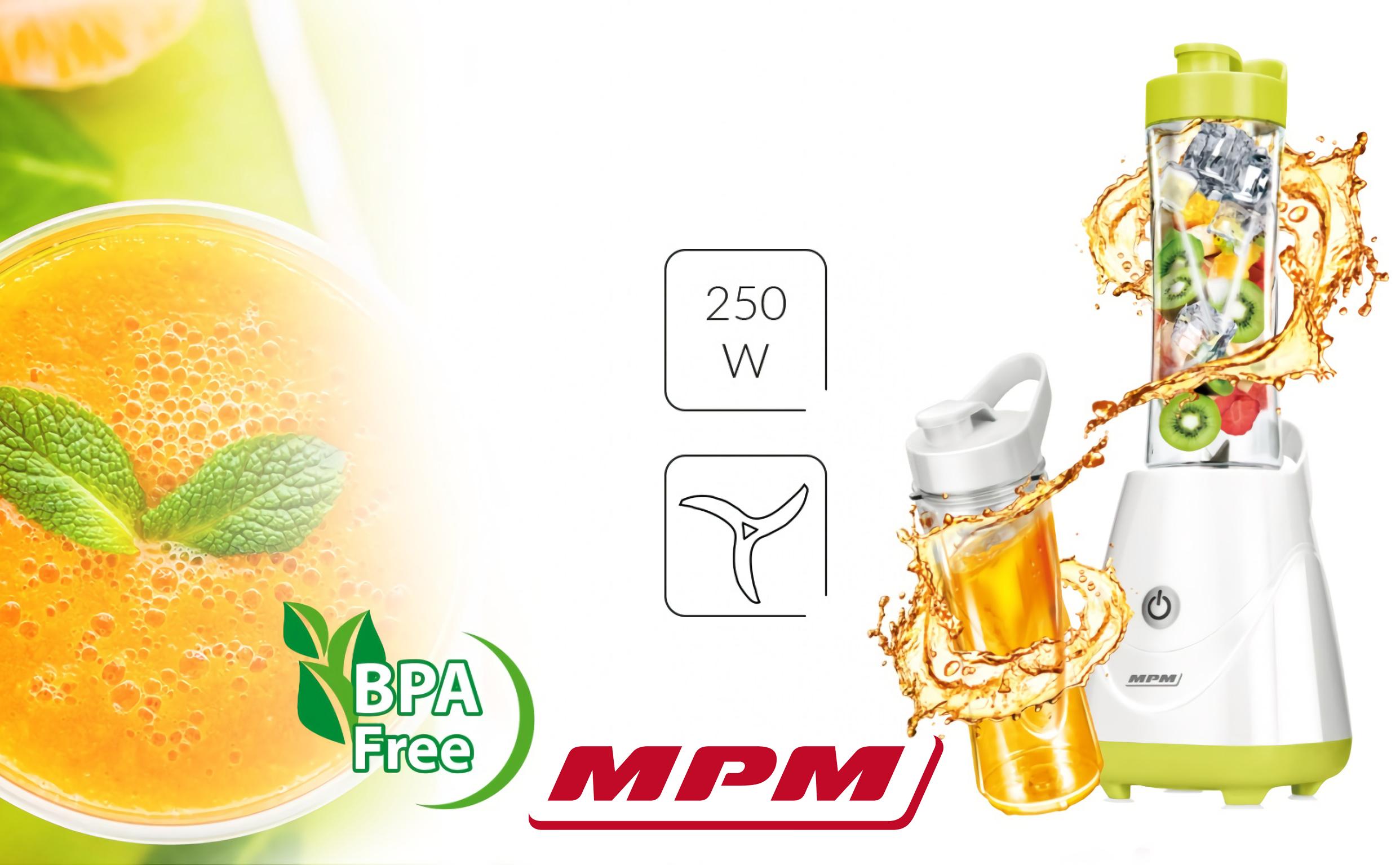 MPM MBL-20 Batidora de Vaso Good To Go, Licuadora Personal con 2 Botellas de 600 ml, Smothie, 250W, Libre de BPA