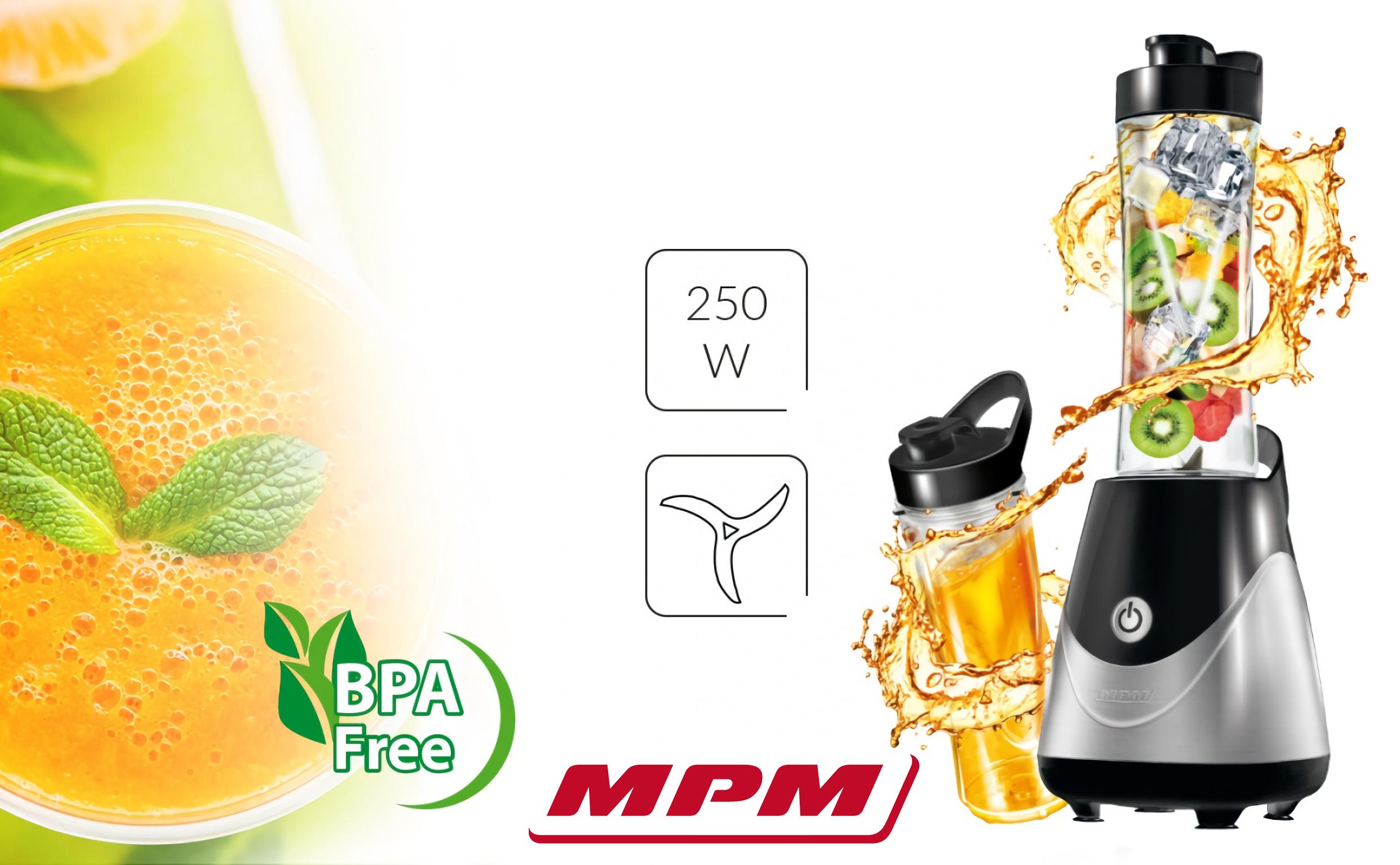 -MPM MBL-23M Batidora de Vaso Good To Go, Licuadora Personal con 2 Botellas de 600 ml, Smothie, 250W, Libre de BPA