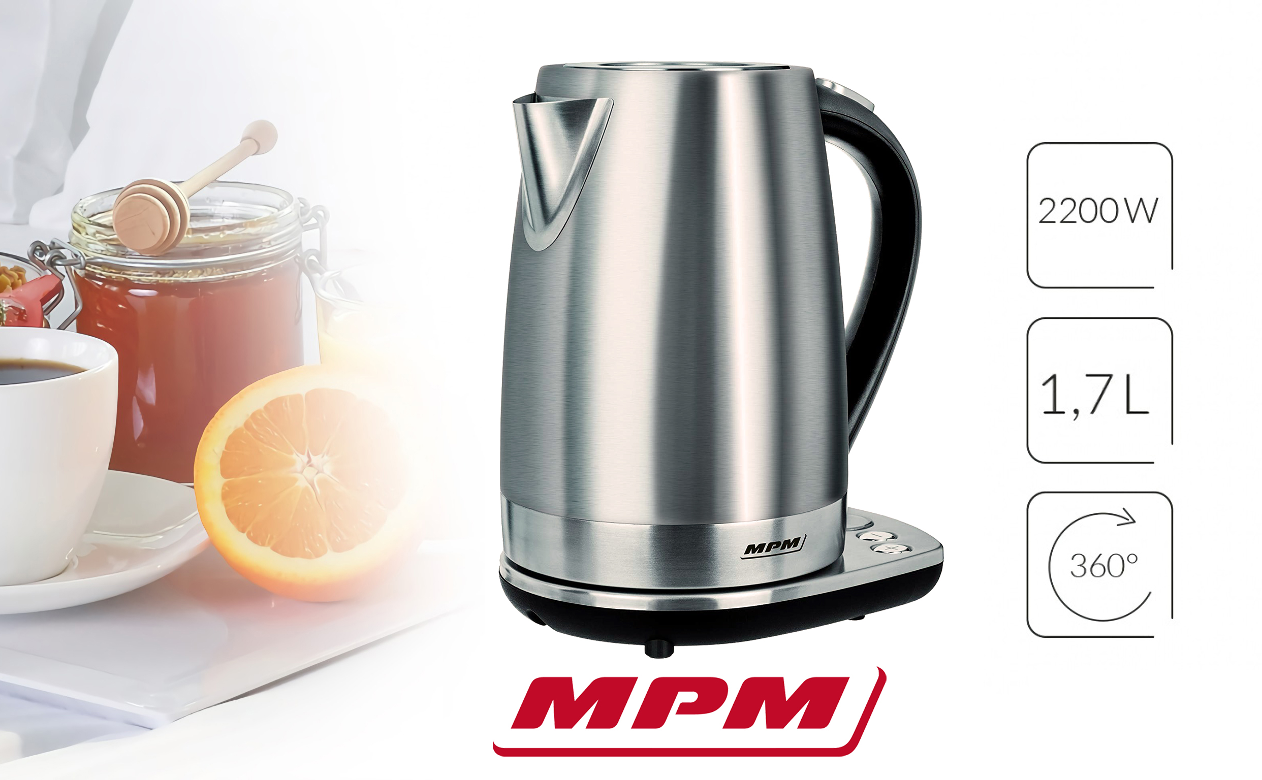 MPM MCZ-51 Hervidor de Agua Eléctrico con Panel de Control, Inalámbrico de Acero Inoxidable, 1,7 Litros, 2200W, Libre de BPA