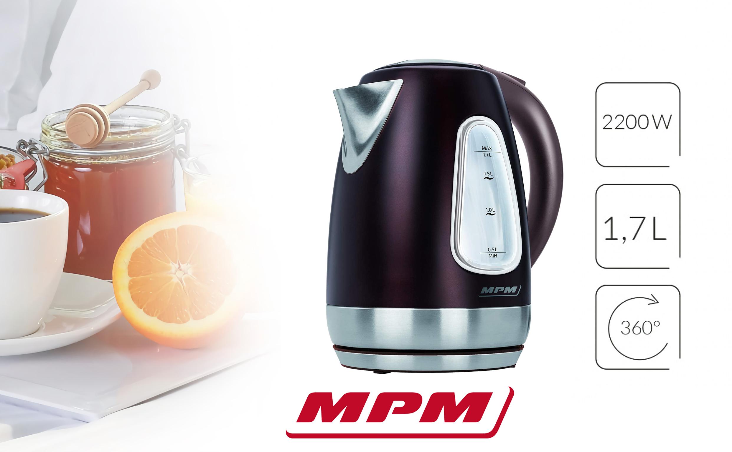 MPM MCZ-55 Hervidor de Agua Eléctrico Inalámbrico de Acero Inoxidable, 1,7 Litros, 2200W, Libre de BPA