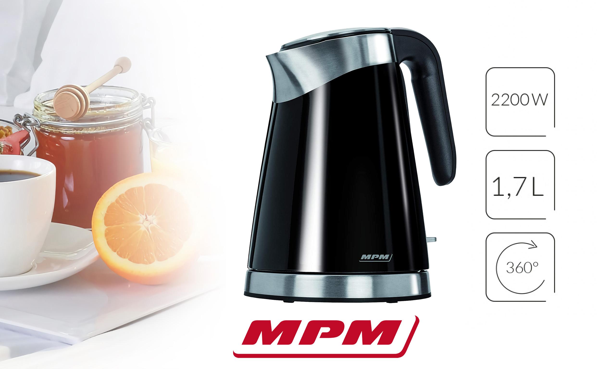 MPM MCZ-56 Hervidor de Agua Eléctrico Inalámbrico de Acero Inoxidable, 1,7 Litros, 2200W, Libre de BPA