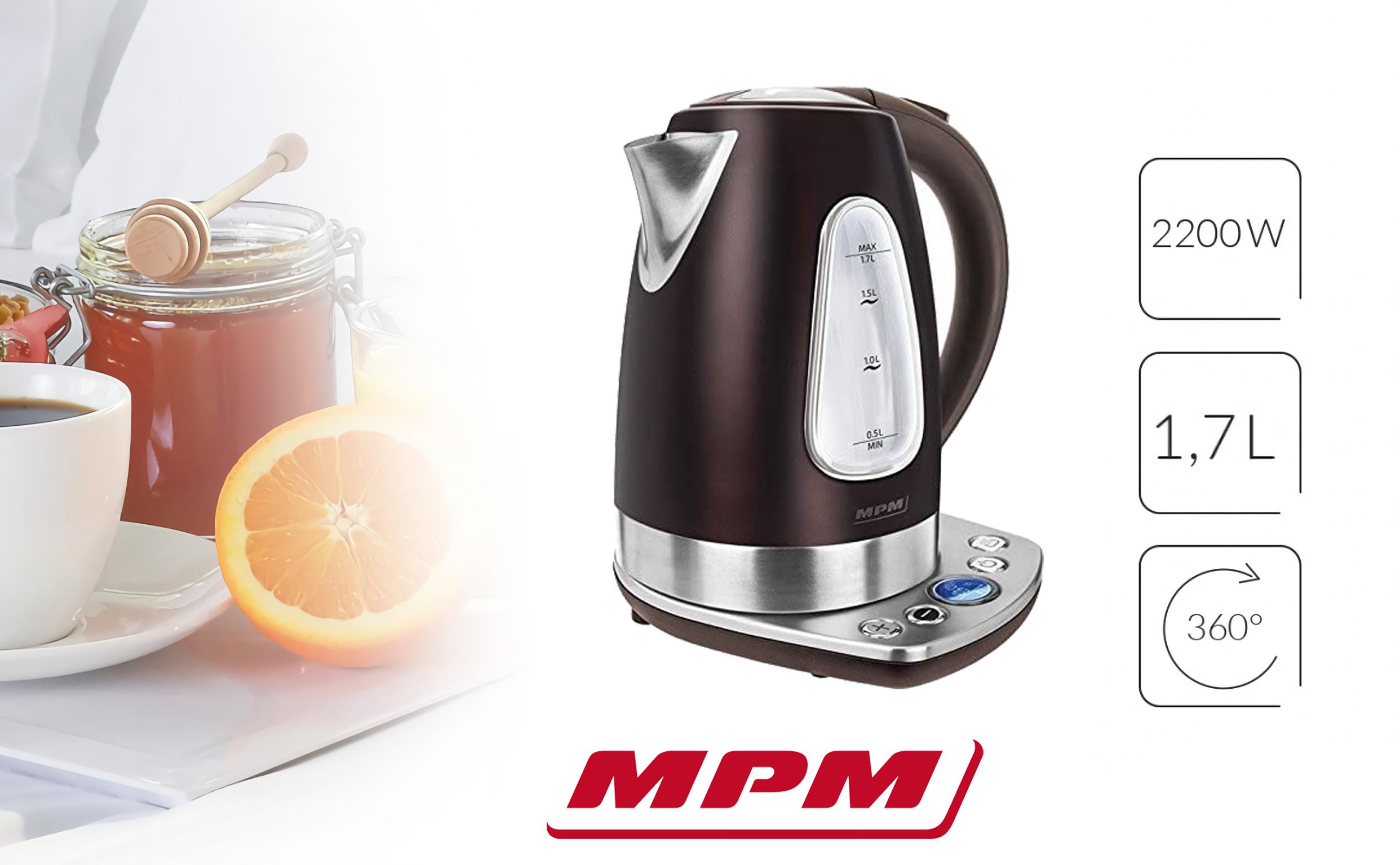 MPM MCZ-57/B1 Hervidor de Agua Eléctrico con Panel de Control, Inalámbrico de Acero Inoxidable, 1,7 Litros, 2200W, Libre de BPA