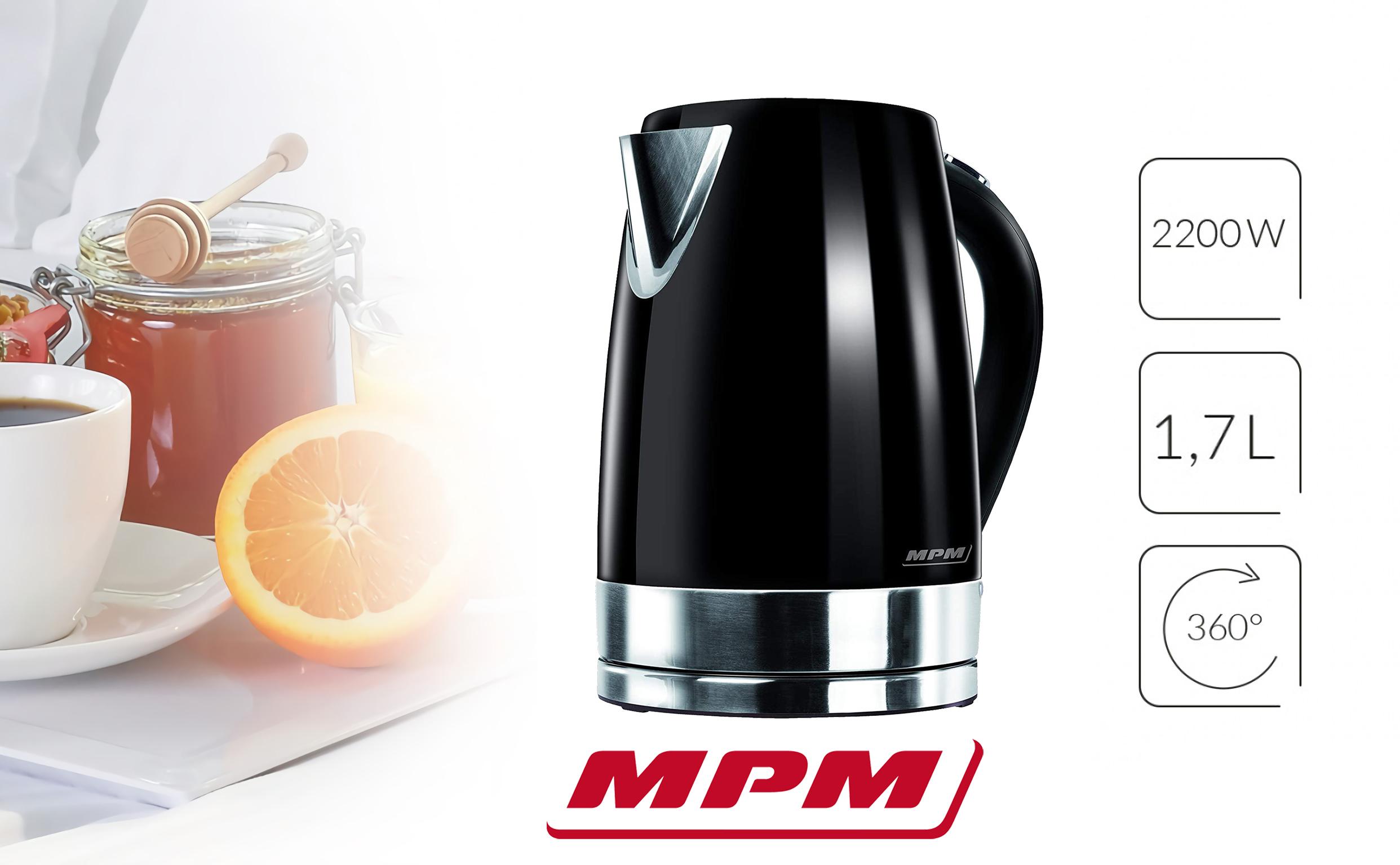 MPM MCZ-58/C Hervidor de Agua Eléctrico Inalámbrico de Acero Inoxidable, 1,7 Litros, 2200W, Libre de BPA