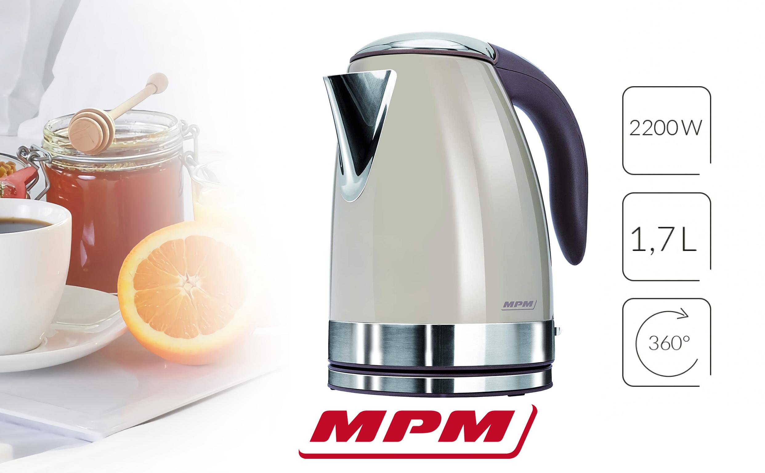 MPM MCZ-59B Hervidor De Agua Eléctrico de Acero Inoxidable. 1,7 Litros, Tapa automática, Filtro Anti cal, Base 360º, 2200w
