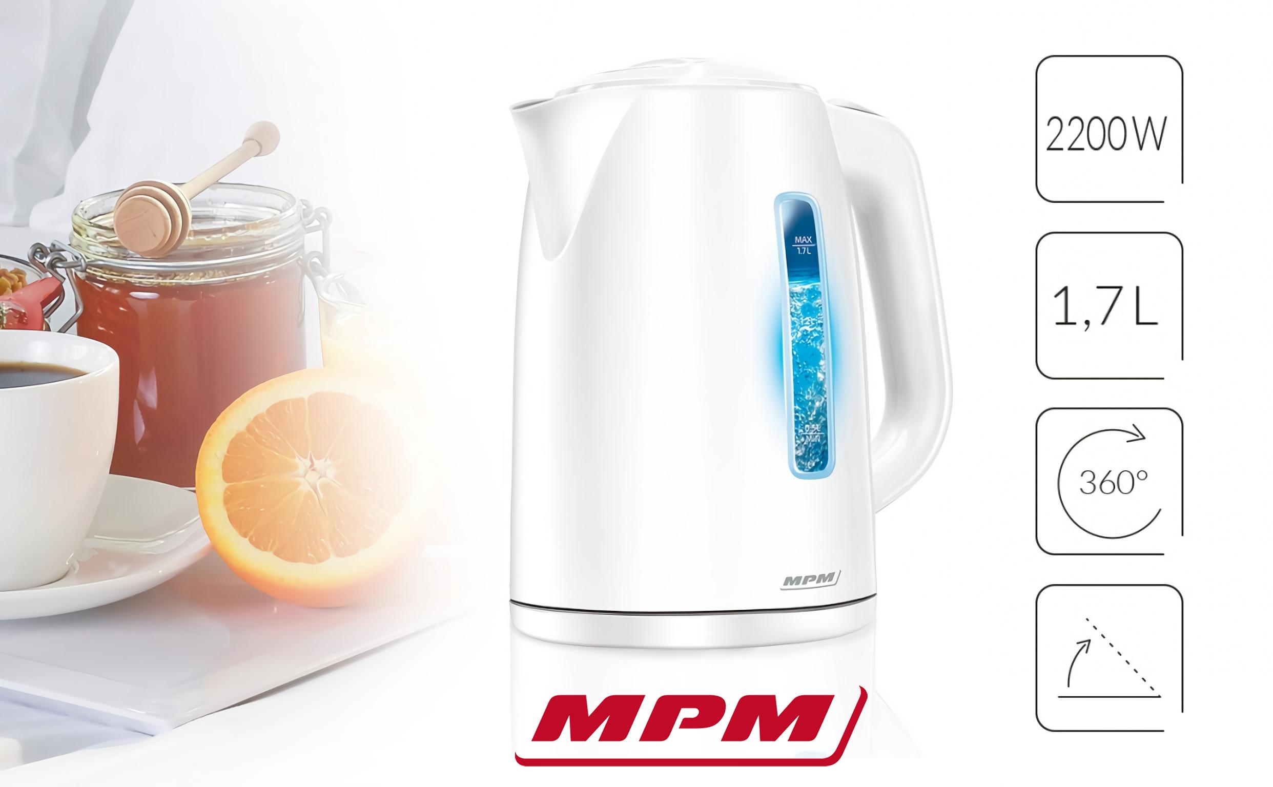 MPM MCZ-66 Hervidor De Agua Eléctrico Inalámbrico. 1,7 Litros, Filtro Anti cal, Base 360º, Retroiluminación , 2200w, blanco