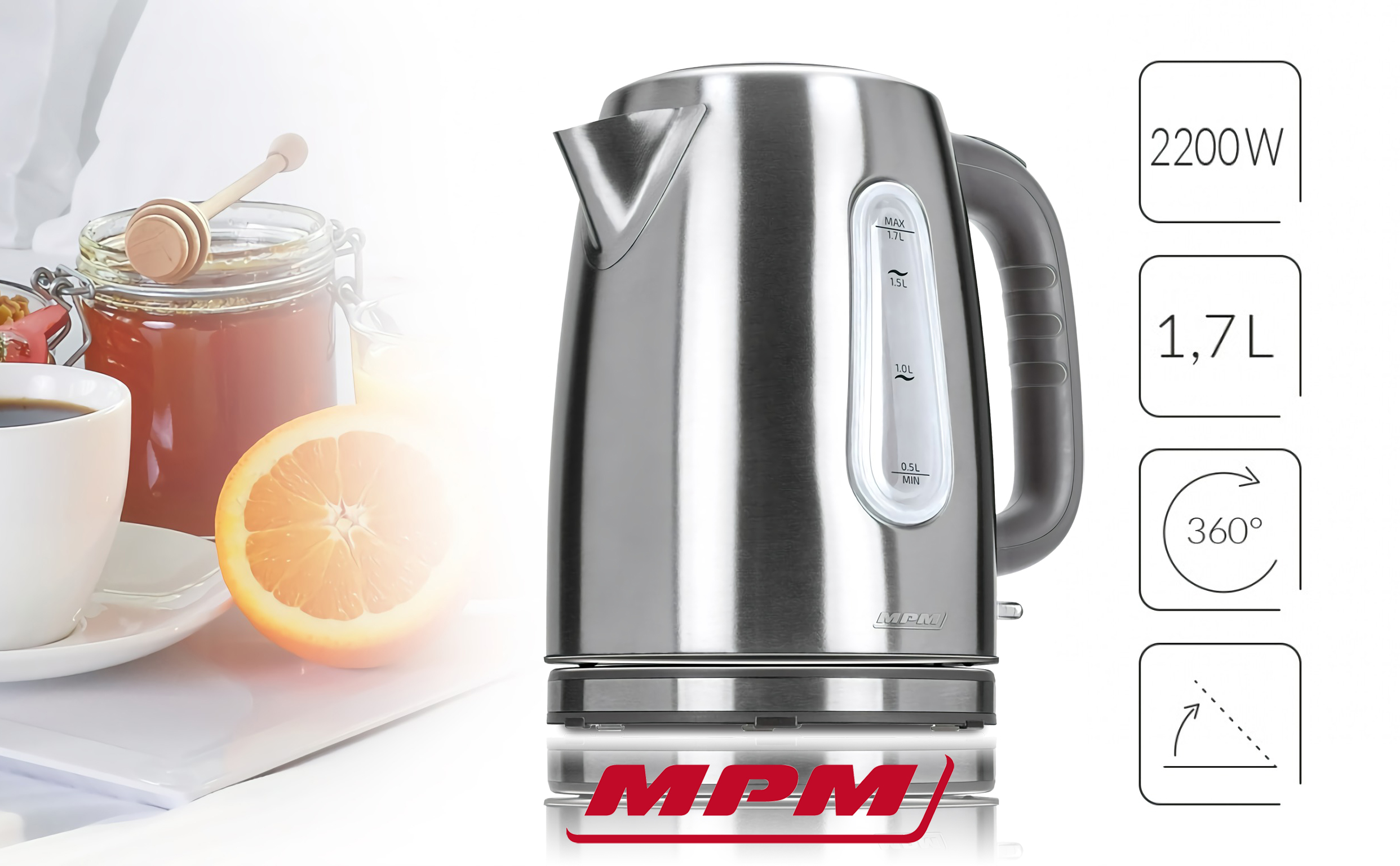 MPM MCZ-68M Hervidor De Agua Eléctrico de Acero Inoxidable. 1,7 Litros, Tapa automática, Filtro Anti cal, Base 360º, 2200w