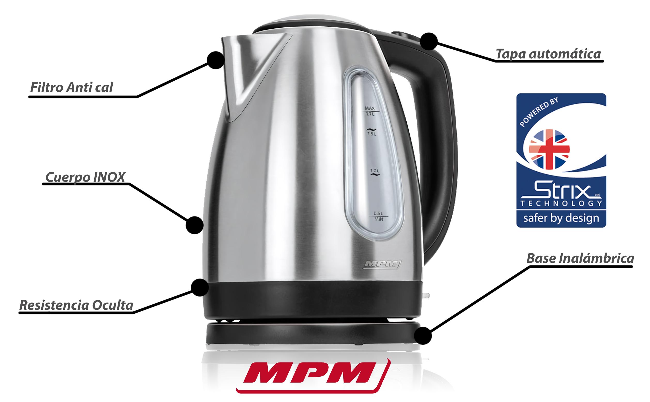 MPM MCZ-70M Hervidor de agua eléctrico 1,7 litros, recipiente acero inoxidable sin BPA, resistencia oculta, 2200 W con apagado automático al alcanzar la ebullición, inalámbrico 360º sin cable, filtro de cal