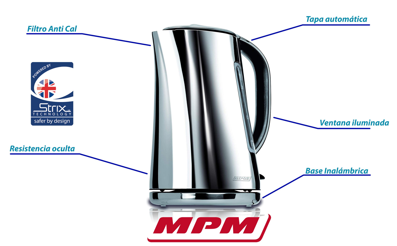 MPM MCZ-71P Hervidor de agua eléctrico 1,7 litros, diseño moderno elegante, acero inoxidable sin BPA, resistencia oculta, 2200 W con apagado automático al alcanzar la ebullición, inalámbrico 360º sin cable, filtro de cal