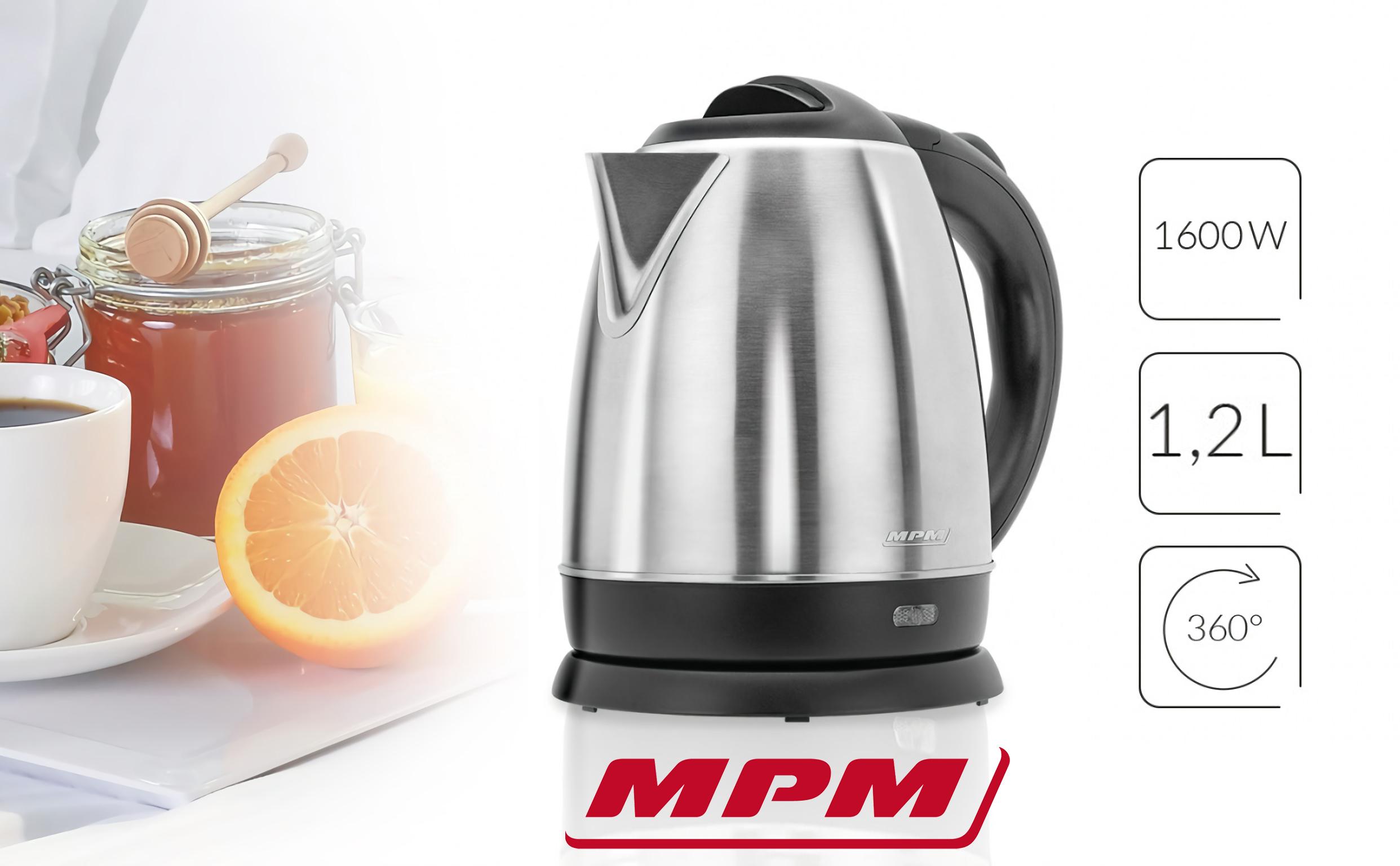 MPM MCZ-75M Hervidor de agua Eléctrico de Acero Inoxidable, Seguridad Multietapa, Resistencia Oculta, Base Inalámbrica, 1.2 l, 1600W