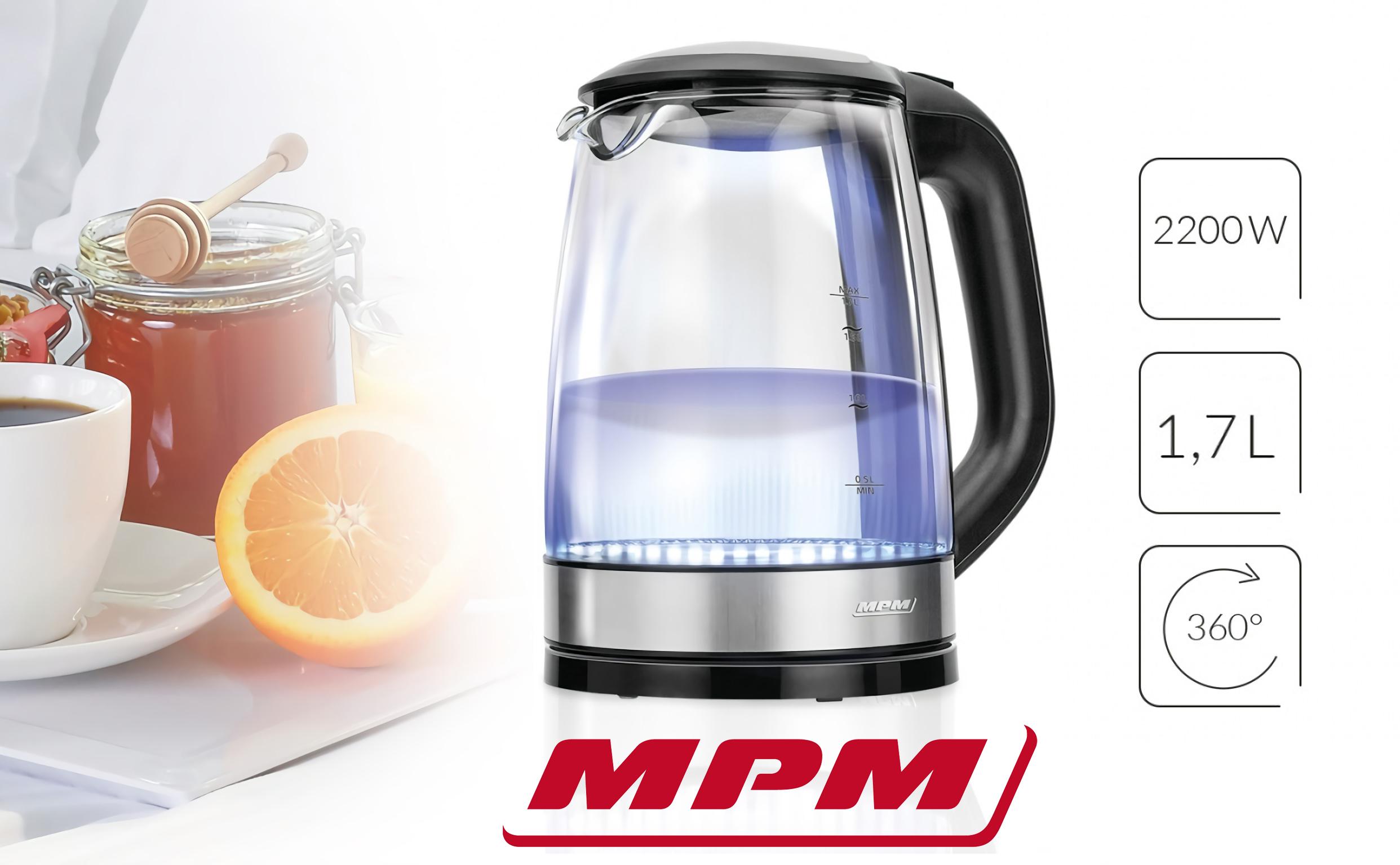 MPM MCZ-78 Hervidor de agua eléctrico cristal 1,7 litros, resistencia oculta, Iluminación LED, 2200 W con apagado automático al alcanzar la ebullición, inalámbrico 360º sin cable, Filtro Antical