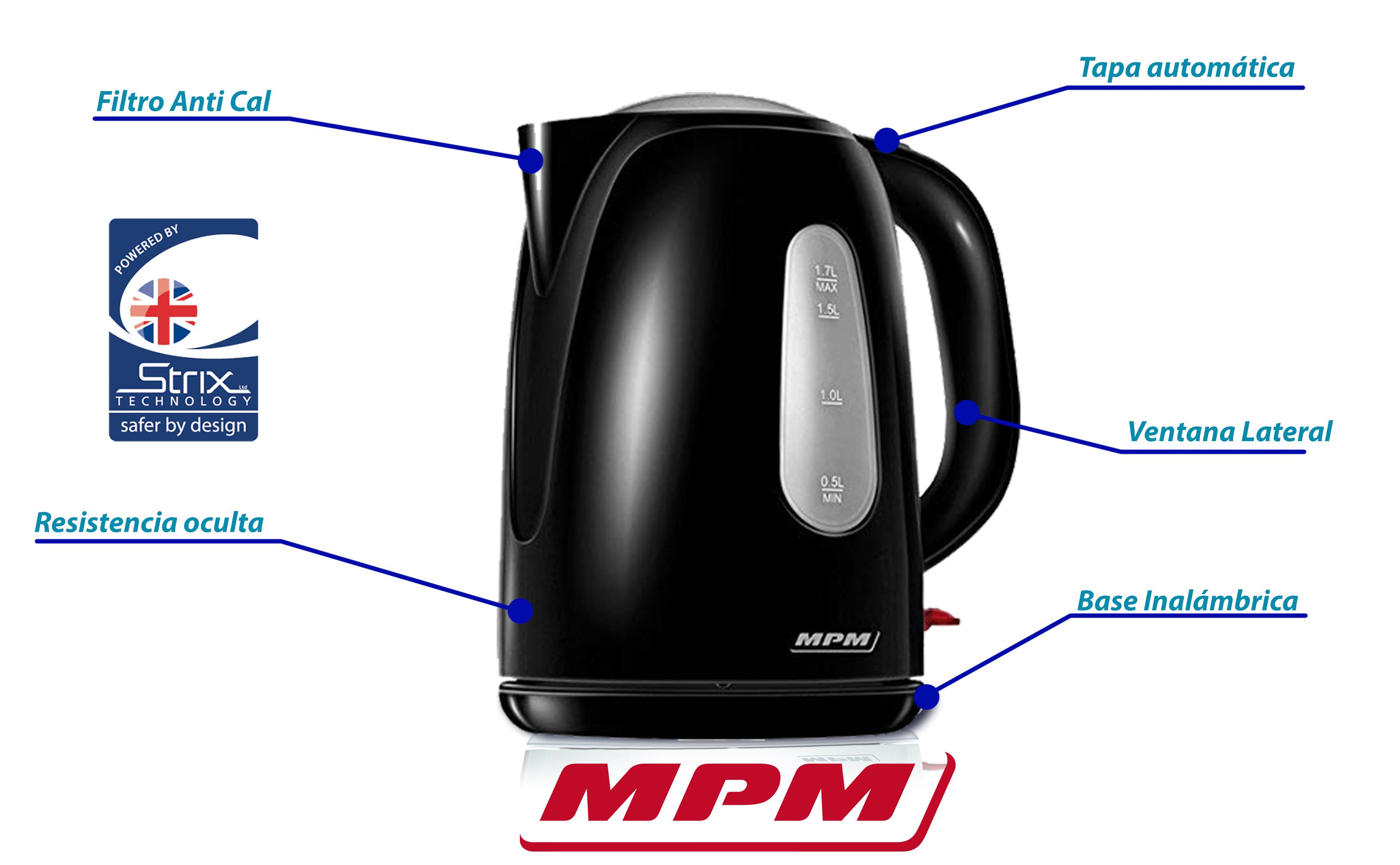 MPM MCZ-82 Hervidor de agua eléctrico 1,7 litros, recipiente sin BPA, resistencia oculta, 2200 W con apagado automático al alcanzar la ebullición, inalámbrico 360º sin cable, blanco