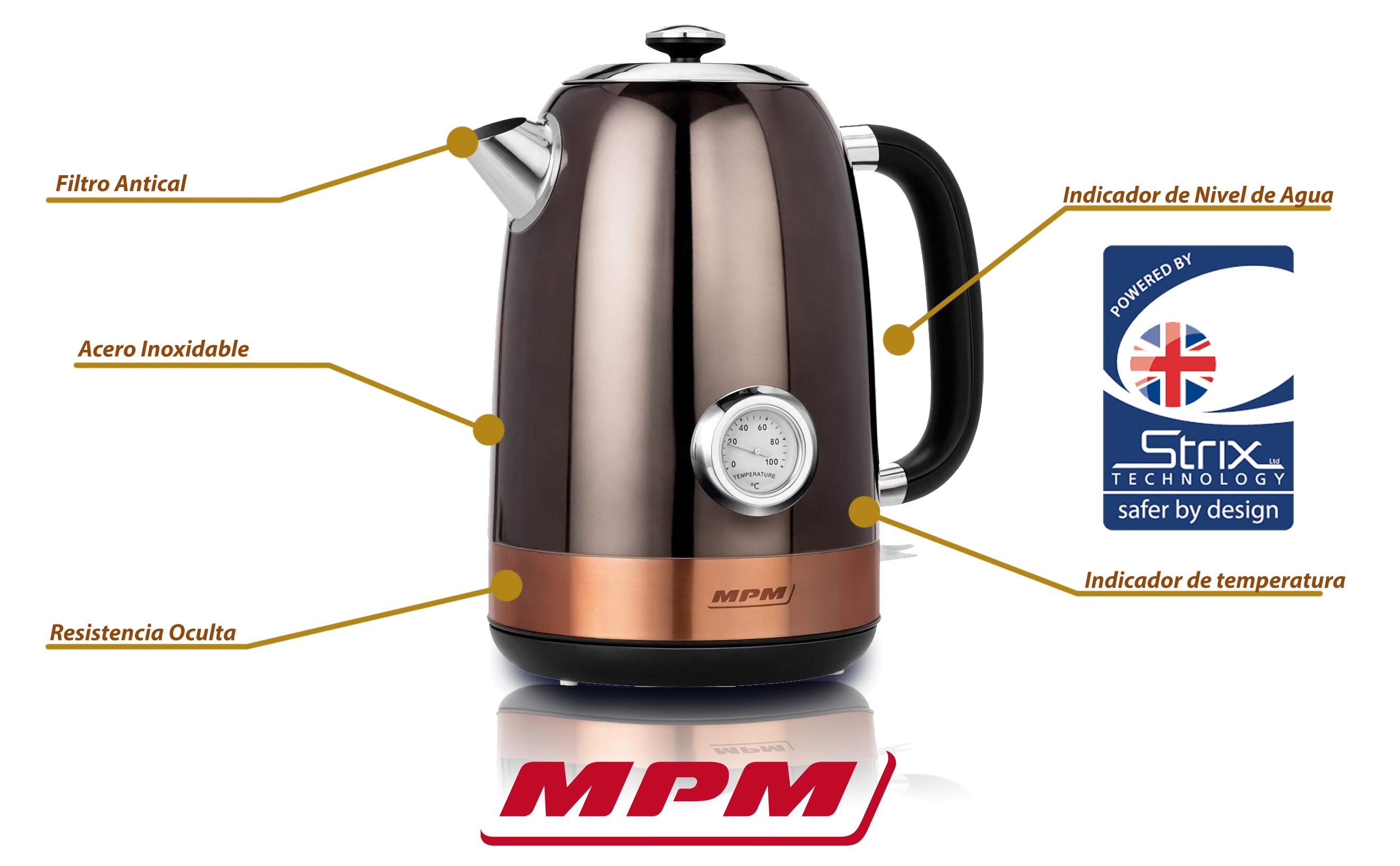 MPM MCZ-87 Hervidor de agua eléctrico retro con indicador temperatura 1,7 litros, acero inoxidable, resistencia oculta, 2150 W con apagado automático al alcanzar la ebullición, inalámbrico 360º sin cable, filtro de cal