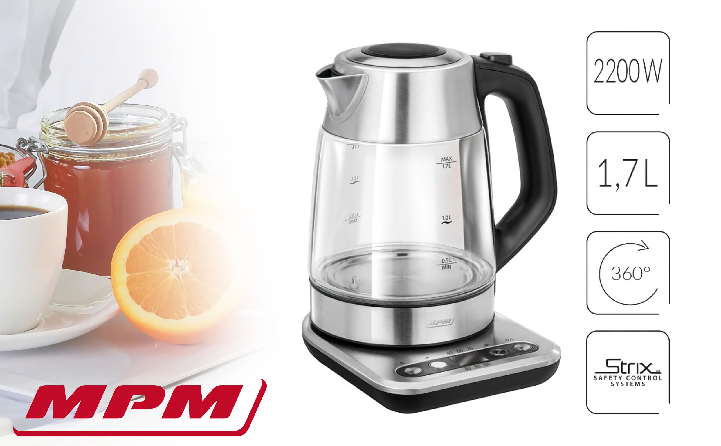 MPM MCZ-97 Bollitore elettrico in vetro con controllo della temperatura. 1,7 L, Senza fili, Tenere al caldo, Retroilluminato, Filtro anti-calce, 2200 W, senza BPA