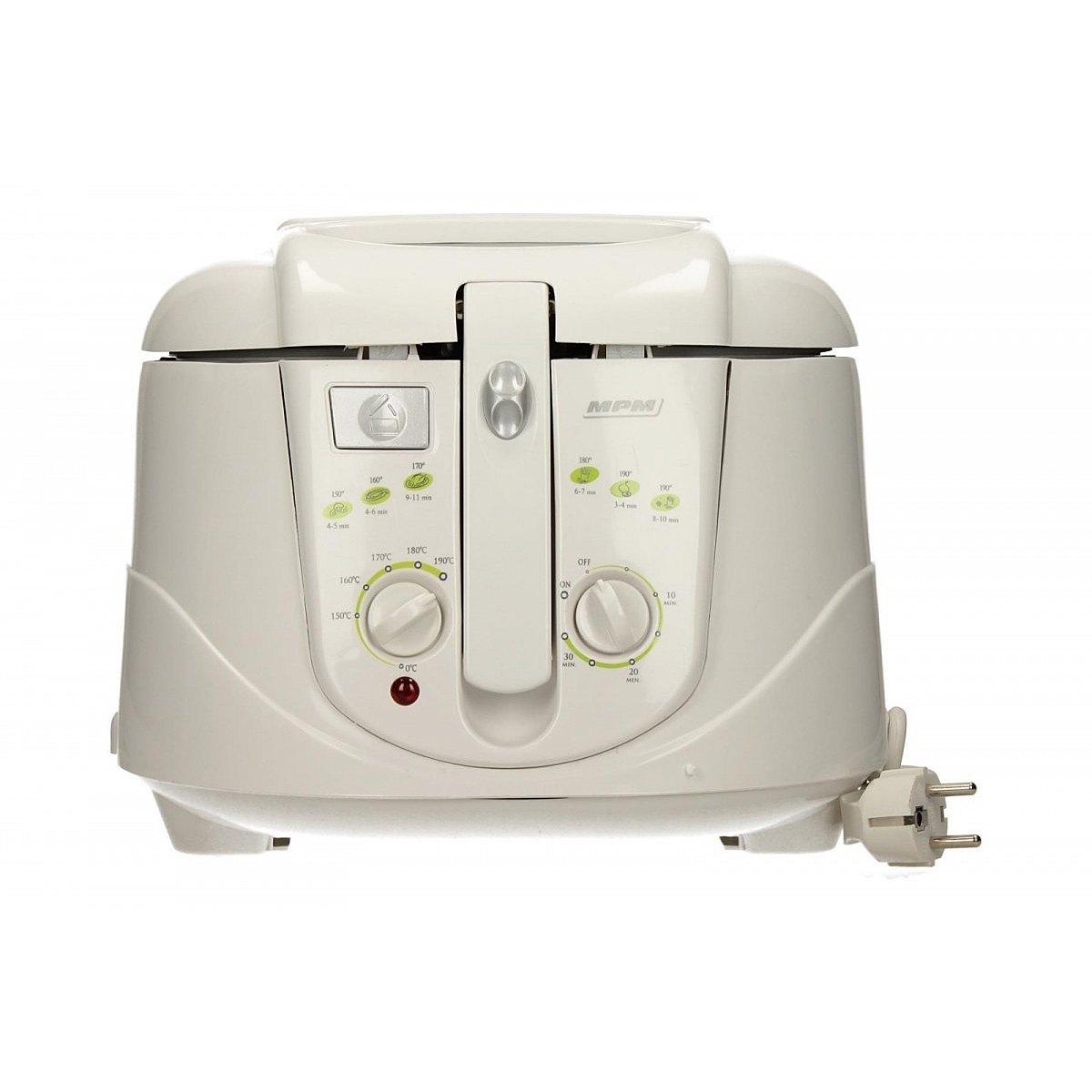 MPM MFR-03 Freidora eléctrica compacta 2,4 litros cubeta desmontable lavable antiadherente, temporizador y regulador hasta 190°C, 1800W