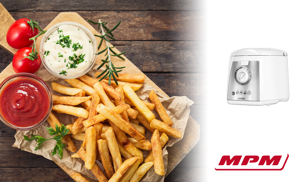 MPM MFR-07 Freidora eléctrica compacta 1,5 litros cubeta desmontable lavable antiadherente, regulador hasta 190°C, libre BPA, 1100W