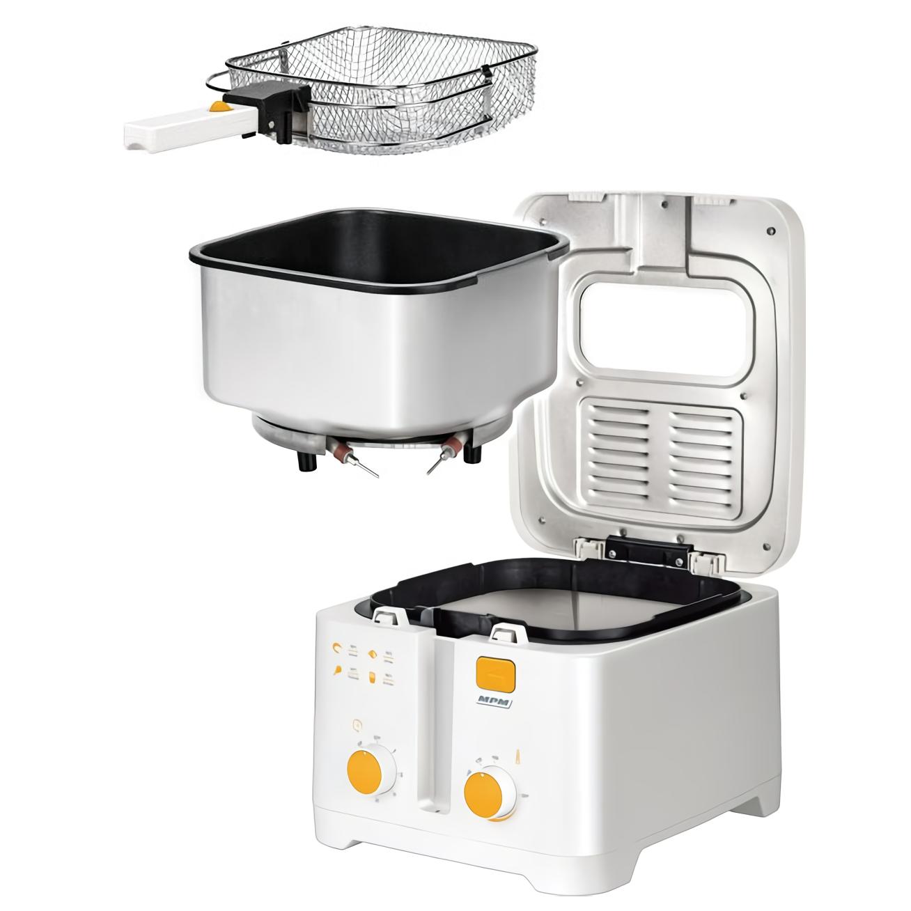 MPM MFR-08 Freidora eléctrica compacta 2,5 litros cubeta desmontable lavable antiadherente, temporizador y regulador hasta 190°C, 1800W