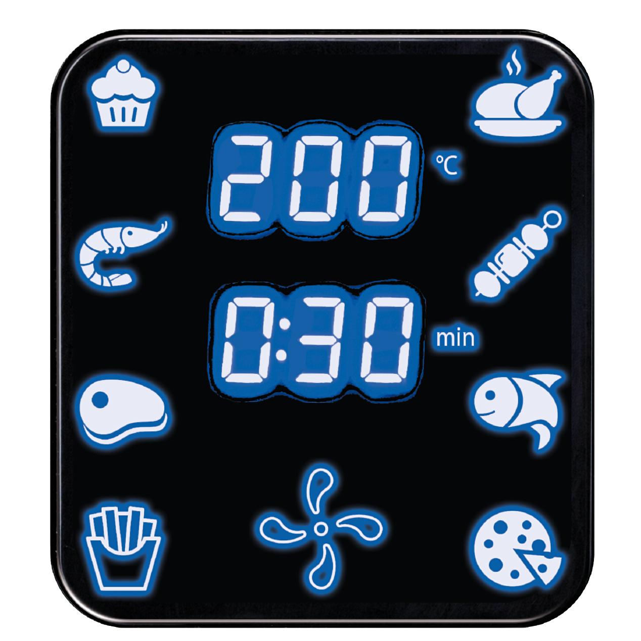 MPM MFR06 Freidora de aire caliente sin aceite, 4,5 litros, 8 programas cocción, panel digital, termostato 80 - 200ºC, temporizador 3min, 1500W