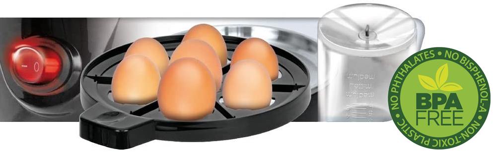 MPM MGJ-01M Cuece Huevos Eléctrico para 7 Huevos de Acero Inoxidable, Ajuste de Cocción, Protección por Sobre Calentamiento, 350W, Libre de BPA