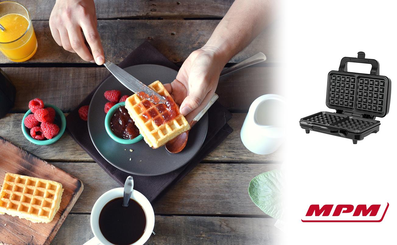 MPM MGO-20M Gofrera Profesional para 2 gofres Belgas gruesos, placas antiadherente, temperatura automática, carcasa acero inox, 1000W