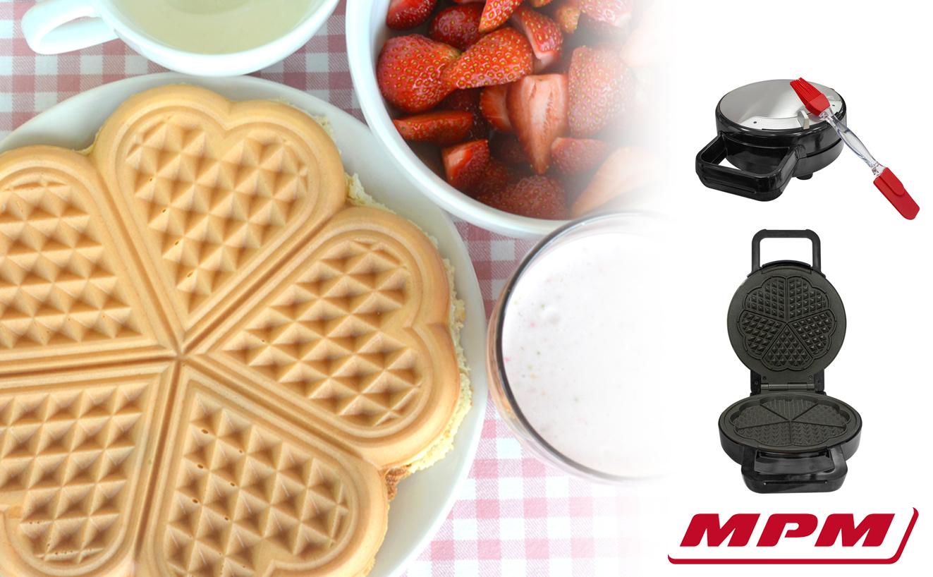 MPM MGO-30M Gofrera para 5 gofres forma de corazón, regulador de temperatura, placas antiadherente, carcasa acero inoxidable , 1000W