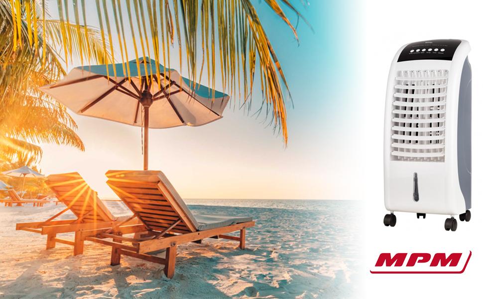 MPM MKL-03 Climatizador evaporativo enfriador aire portátil, oscilante, función humidificador purificador aire, depósito 6L, cajón hielo, mando distancia