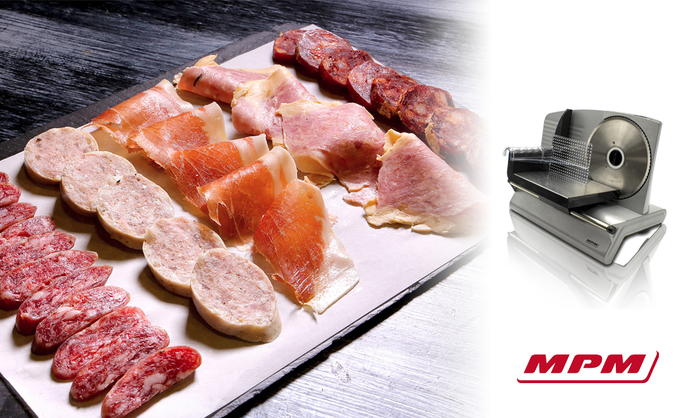 MPM MKR-02M Cortafiambres de acero inoxidable semi-profesional, grosor de corte ajustable 15mm, disco corte 19 cm, 150 W