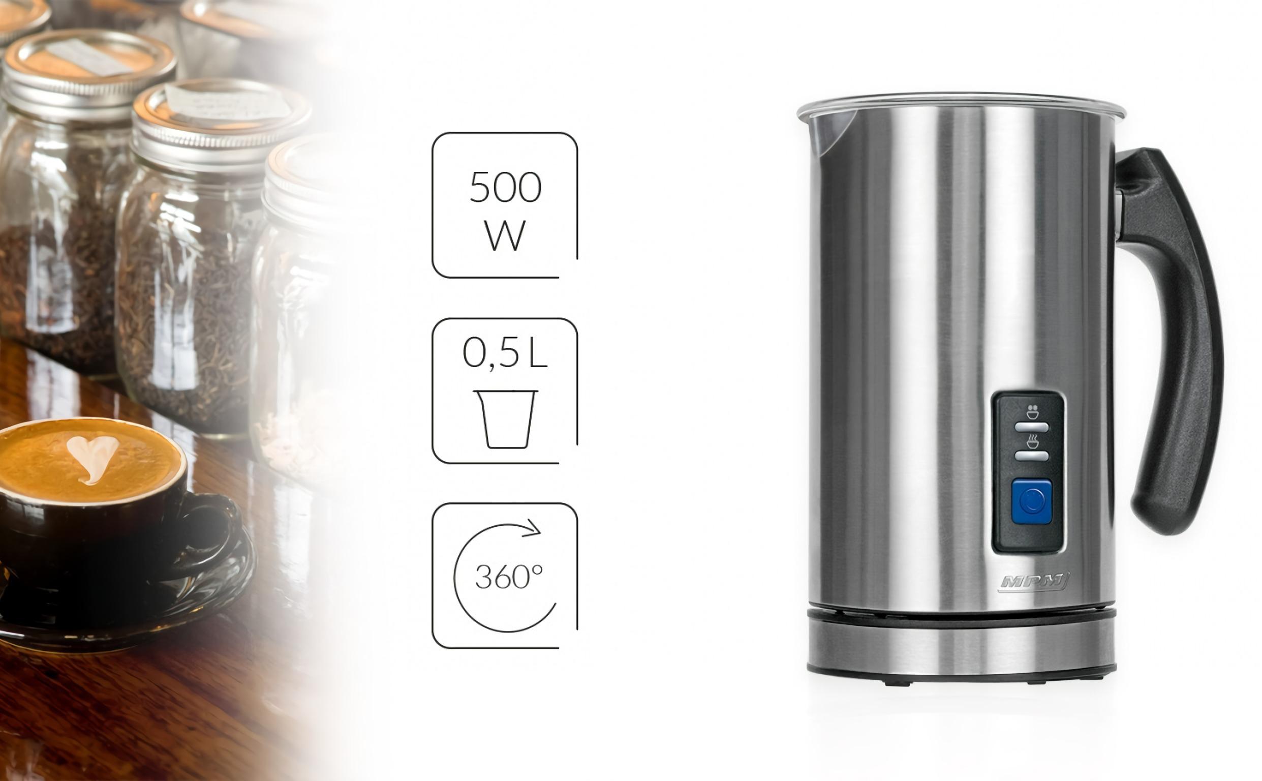 MPM MKW-03M Espumador de Leche Automático Batidor de leche Eléctrico 500W Vaporizador y Calentador Leche 500 ml Hace Espuma en Caliente-Frío, Tapa Transparente, Acero Inoxidable